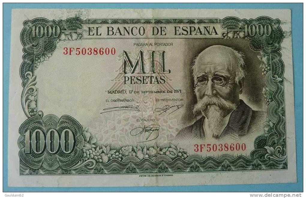 1000 Pesetas 17.9.1971 - [ 6] Commemorative Issues