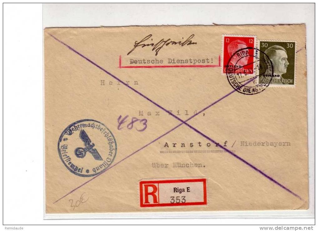 OCCUPATION Dans Les Pays BALTES - OSTLAND - RIGA (LETTONIE) - 1943 - RECOMMANDE - Occupation 1938-45