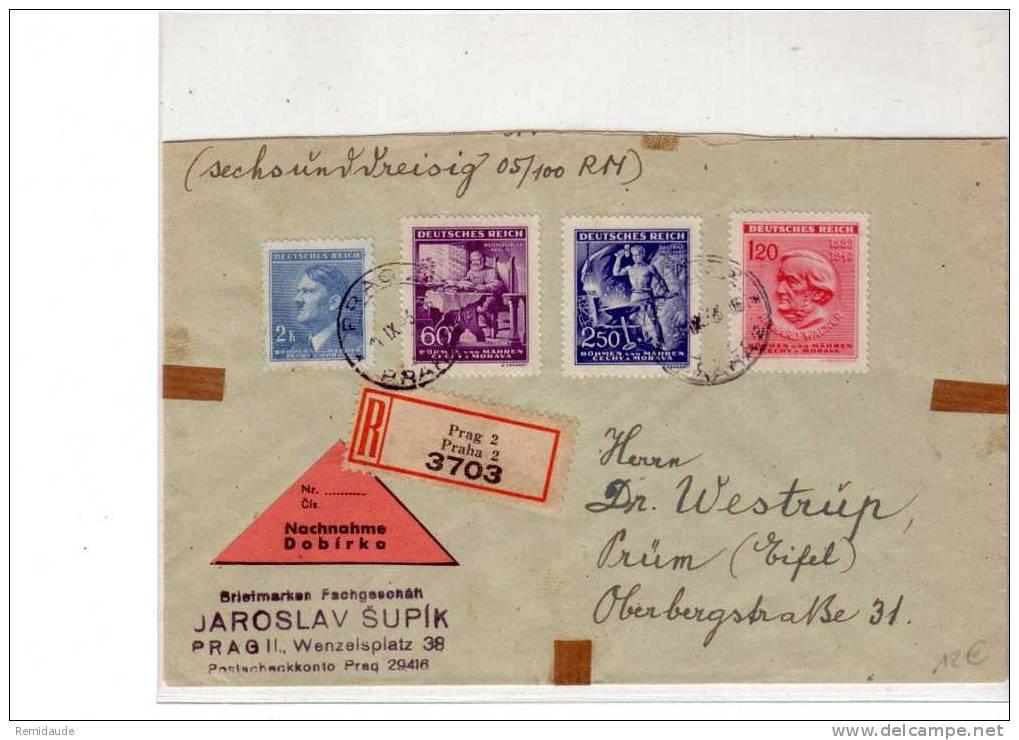 BOHEME MORAVIE - LETTRE RECOMMANDEE CONTRE REMBOURSEMENT - 1943 6 PRAGUE - Lettres & Documents
