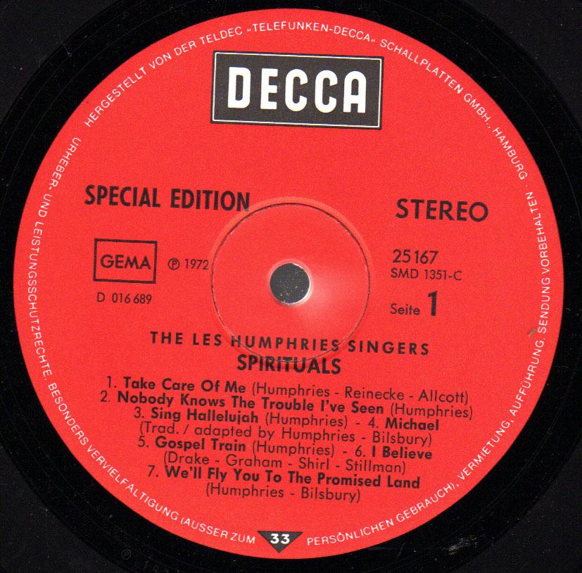 * LP *  LES HUMPHIES SINGERS - SPIRITUALS (Germany 1972) - Gospel & Religiöser Gesang