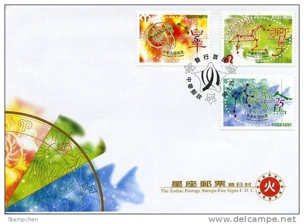 FDC 2001 12 Zodiac Stamps 4-3 Fire Signs Aries Leo Sagittarius - Astrology