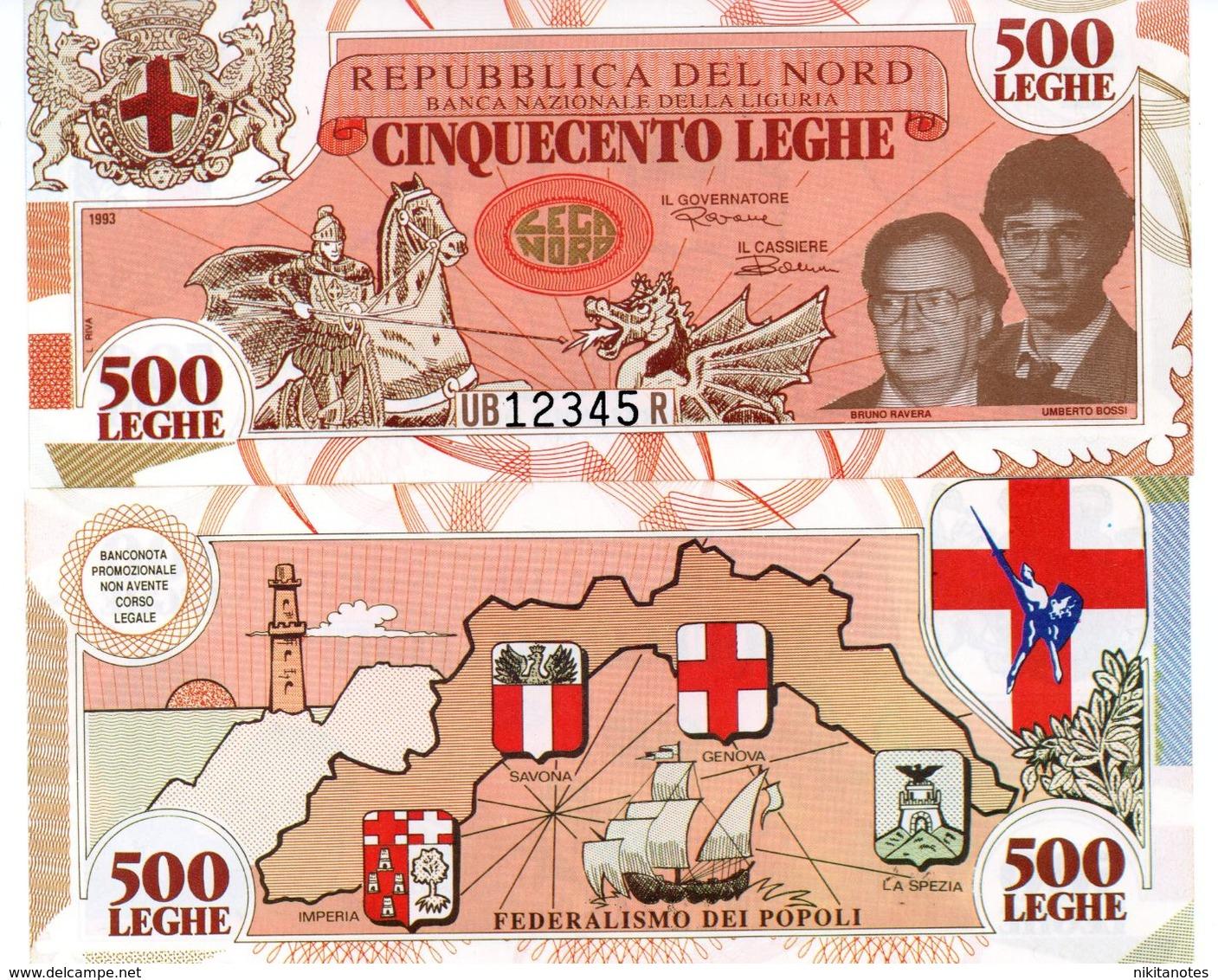 LEGA NORD BANCONOTE DA 500 LEGHE PADANE - Italia