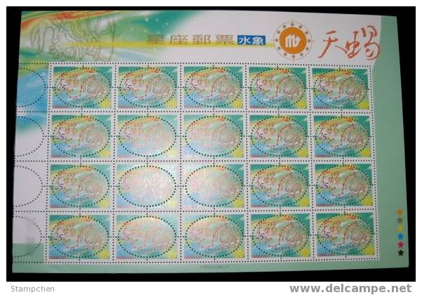 2001 Zodiac Stamps Sheet - Scorpio Of Water Sign - Astrology