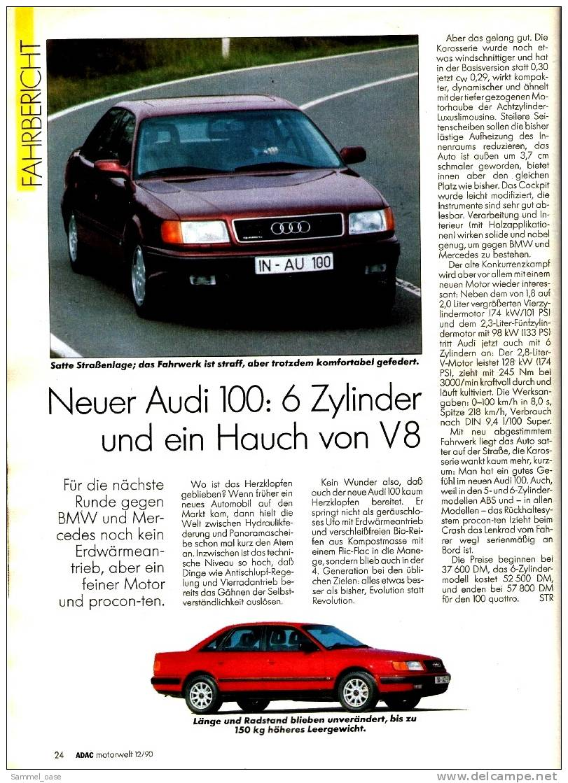 ADAC Motorwelt 12/1990  Mit :  Der Neue Audi 100-6 Zylinder Und Ein Hauch Von V8 - Auto & Verkehr