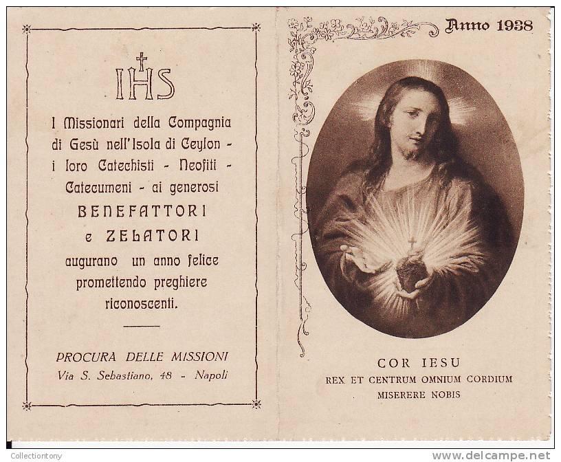 SANTINO - CALENDARIO 1938 - CUOR DI GESU' - Religion & Esotérisme