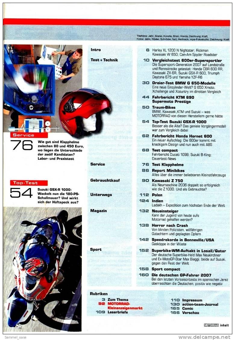 Motorrad Zeitschrift  3/ 2007 - Mit :  Vergleichstest : Kawasaki ZR-6R - Honda CBR 600 RR - Auto & Verkehr