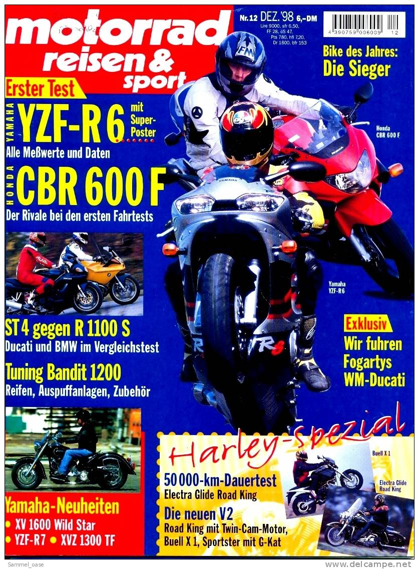 Motorrad Reisen & Sport Zeitschrift  12/ 1998 - Mit :  Test : BMW Gegen Ducati + Yamaha Poster - Auto & Verkehr