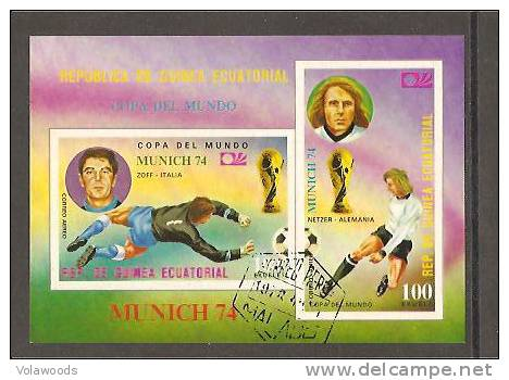 Guinea Equatoriale -  Foglietto Usato: Coppa Del Mondo Germania Ovest 74 - Coppa Del Mondo