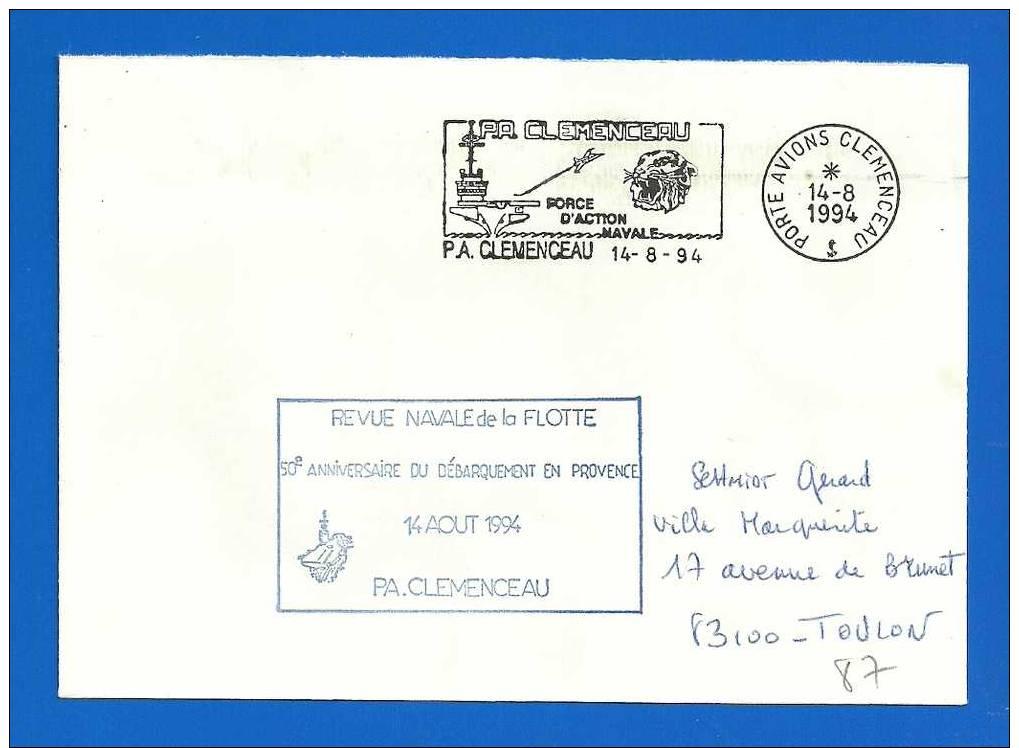 Animaux - Felins - Flamme PA CLEMENCEAU (87-1) Revue Navale De La Flotte 14 Août 1994 - Raubkatzen
