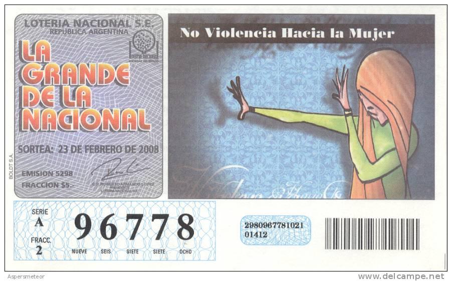 NO VIOLENCIA HACIA LA MUJER - BILLETE DE LOTERIA - LOTTERY TICKET - REPUBLICA ARGENTINA - Billetes De Lotería