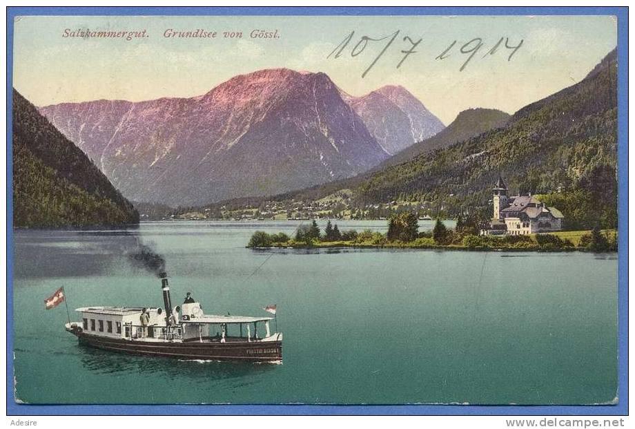 Salzkammergut, GRUNDLSEE Von Gössl, Gelaufen Um 1914, Verlag: F.E.Brandt In Gmunden, Seltene Karte, Sehr Gute Erhaltung - Non Classés