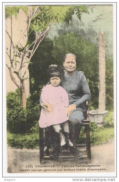 INDO-CHINE Française: CAMBODGE ,femme Cambodgienne Tenant  Son Enfant Métis D´européen , Pub TOT-LAM Fleur De Thé ! - Cambodia