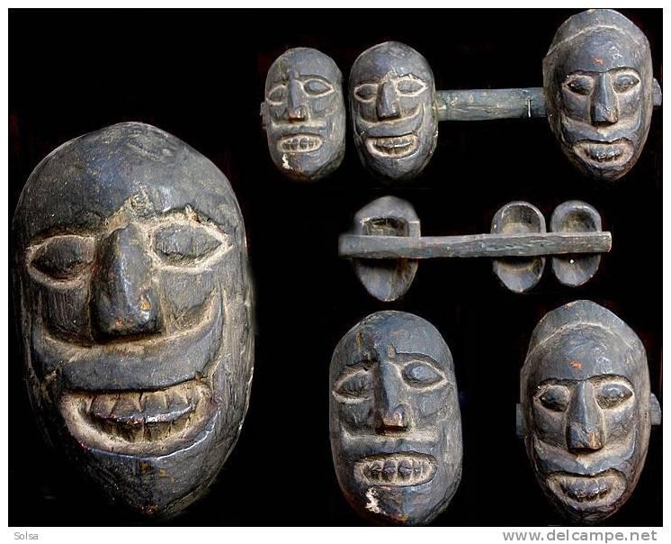 Ensemble De Trois Têtes Népalaises  / Set Of 3 Old Heads From Nepal - Art Populaire
