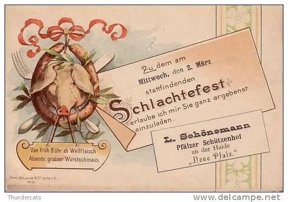 SUPERBE CARTE LITHO PRECURSEUR 1898 !!! **COCHON COCHONS ** SCHLACHTEFEST PFALZER NEUE PFALZ HERM . SCHURADE & CO HALLE - Cochons
