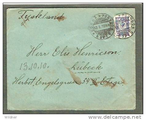 RUSSIA -1910 FINLAND OCCUPATION TO GERMANY / 10 KOP STAMP # 4 - 1919 Occupation: Finland