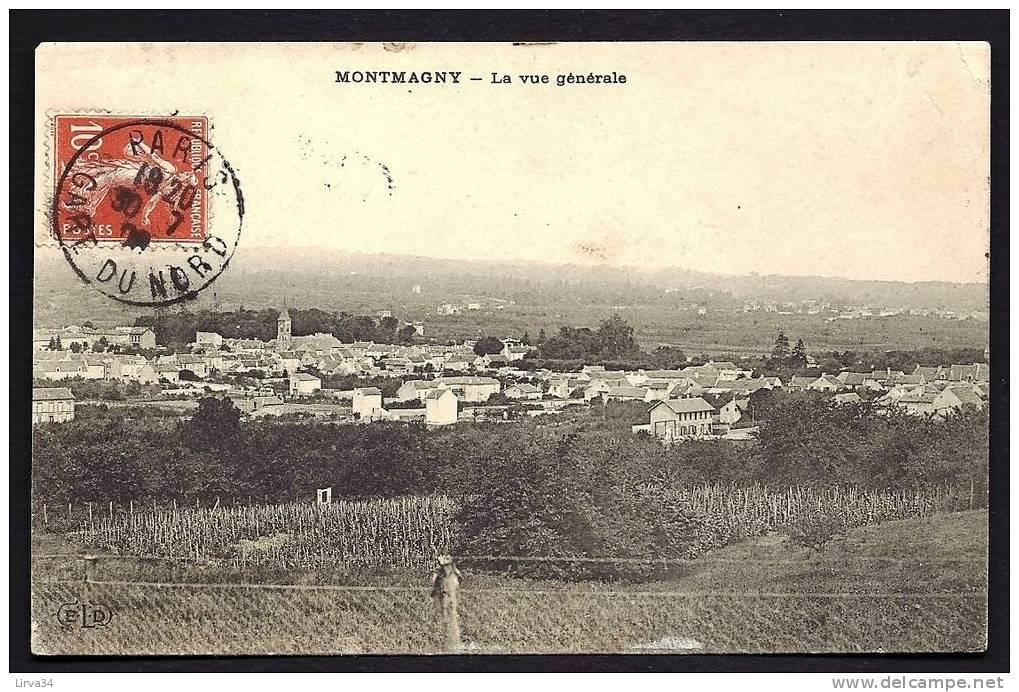 CPA  ANCIENNE- FRANCE- MONTMAGNY (95)- VUE GENERALE DU BOURG- CULTURES AU 1° PLAN- CHEVAL - Frankreich