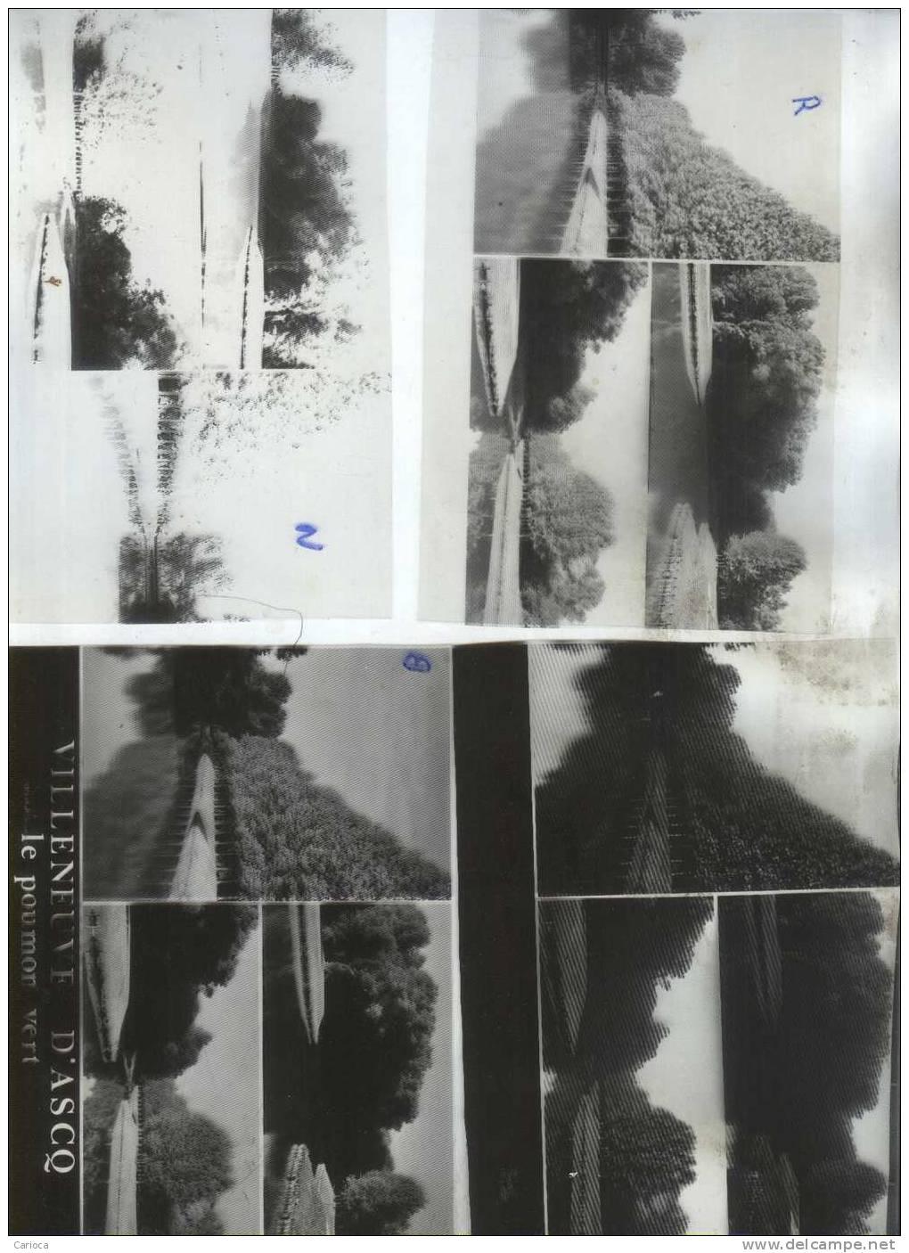 4 NEGATIFS  +1 CPM MODELE POUR TIRAGES CARTES POSTALES VILLENEUVE D ASQ LE PARC DU HERON MULTIVUES - Photos