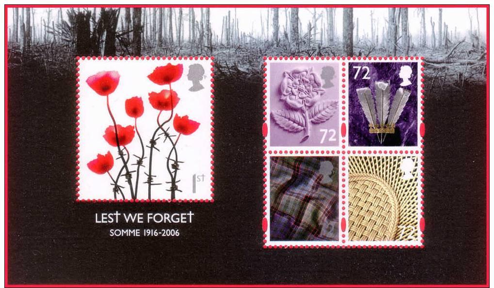 Great Britain 2006 Flower Poppy Regional Symbols MNH Minisheet – Scott 2418 - Plants