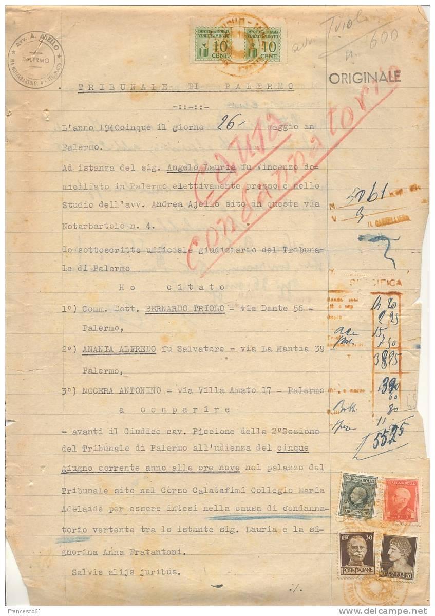 643$$$ 1946 RE DI MAGGIO Imperiale 10+30c USO FISCALE Documento Completo 2 Facciate - 5. 1944-46 Luogotenenza & Umberto II