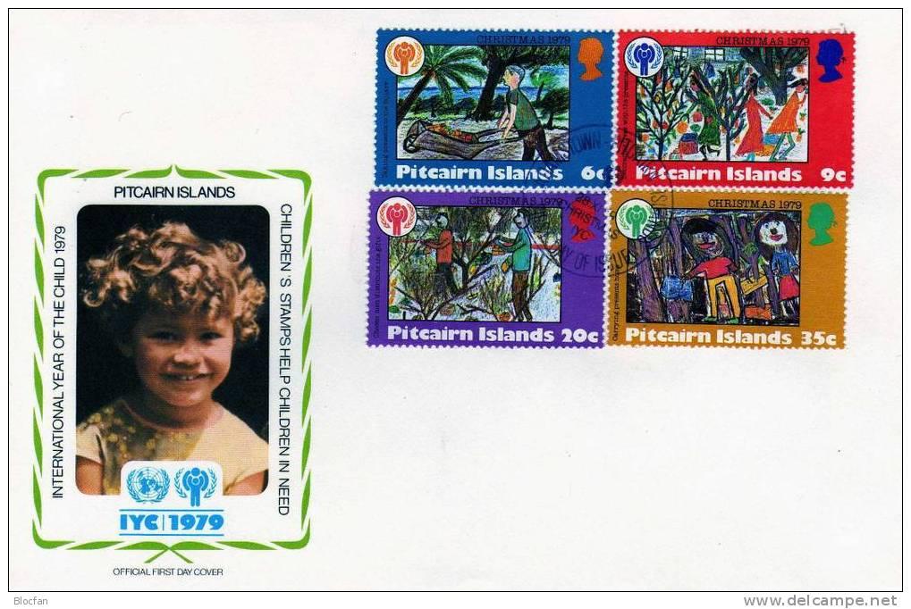 UNO Jahr Des Kindes 1979 Weihnachten Pitcairn - Insel 188/1 + Block 5 Auf 2FDC 9€ Dekorieren Des Baum - Briefmarken