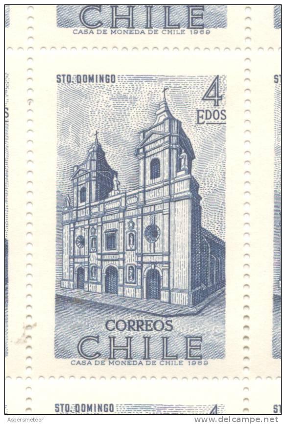 HISTORIA DEL DESCUBRIMIENTO Y DE LA CONQUISTA DE CHILE IGLESIA DE SANTO DOMINGO AÑO 1970 DENTADO 15  MNH TBE - Chili