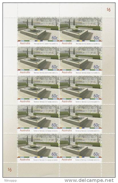 Australia-2010 National Service Memorial Sheetlet MNH - 2000-09 Elizabeth II