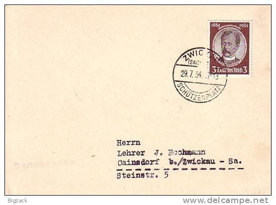 DR Karte EF Minr.540 Seltener SST Zwickau 29.7.34 Schützenplatz - Briefe U. Dokumente