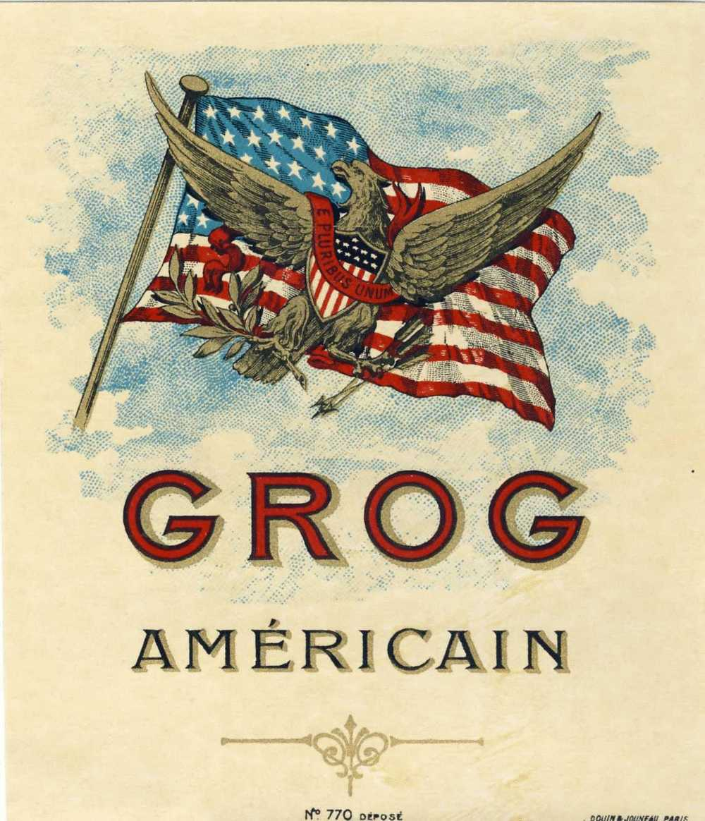 """Extremely Rare And Magnificent Label Authentic AMERICAN GROG. Beautiful Flag Eagle Blazon. Gilded And """" Frozen - Labels"""