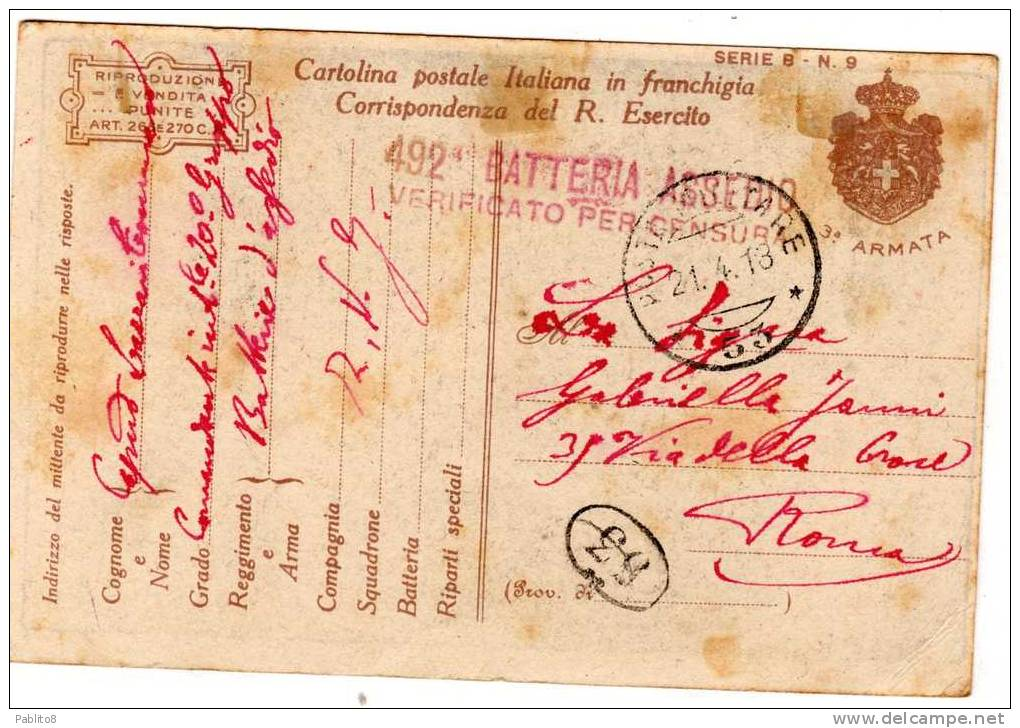 CARTOLINA PRIMA GUERRA MONDIALE ITALIA REGNO - 1900-44 Vittorio Emanuele III