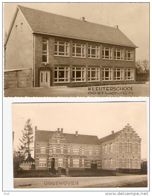 Oosthoven : Klooster En School ----2 Kaarten ( Fotokaarten ) - Oud-Turnhout