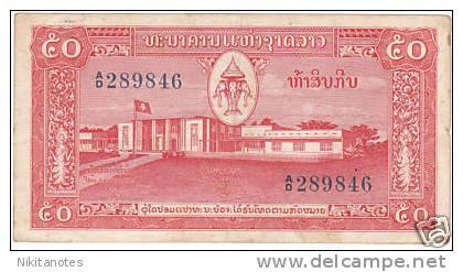 Laos 50 Kip 1957 Banknote Circ - Laos