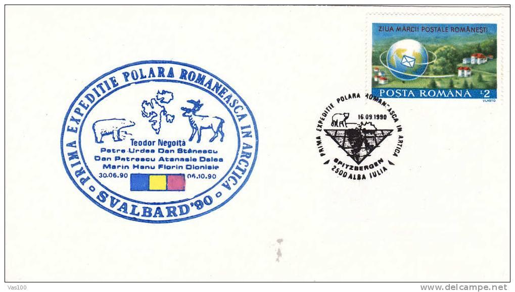 BEARS OURS, Expedition Polaire SVALBARD,  Cover Obliteration Concordante 1990 Rare! Alba-Iulia  - Romania. - Bären