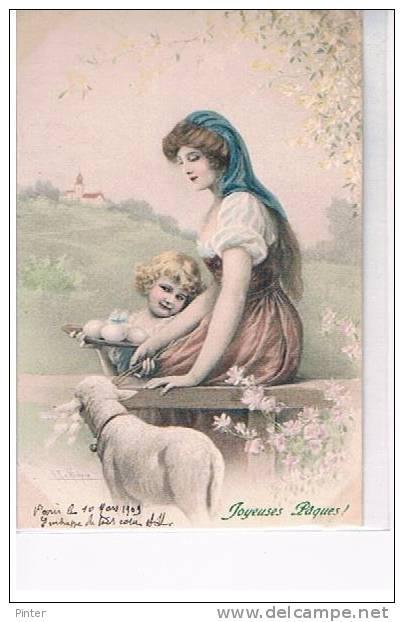 FEMME, ENFANT Regardant Un Mouton - JOYEUSES PAQUES -  Illustrateur M.M. VIENNE N° 300 - Vienne