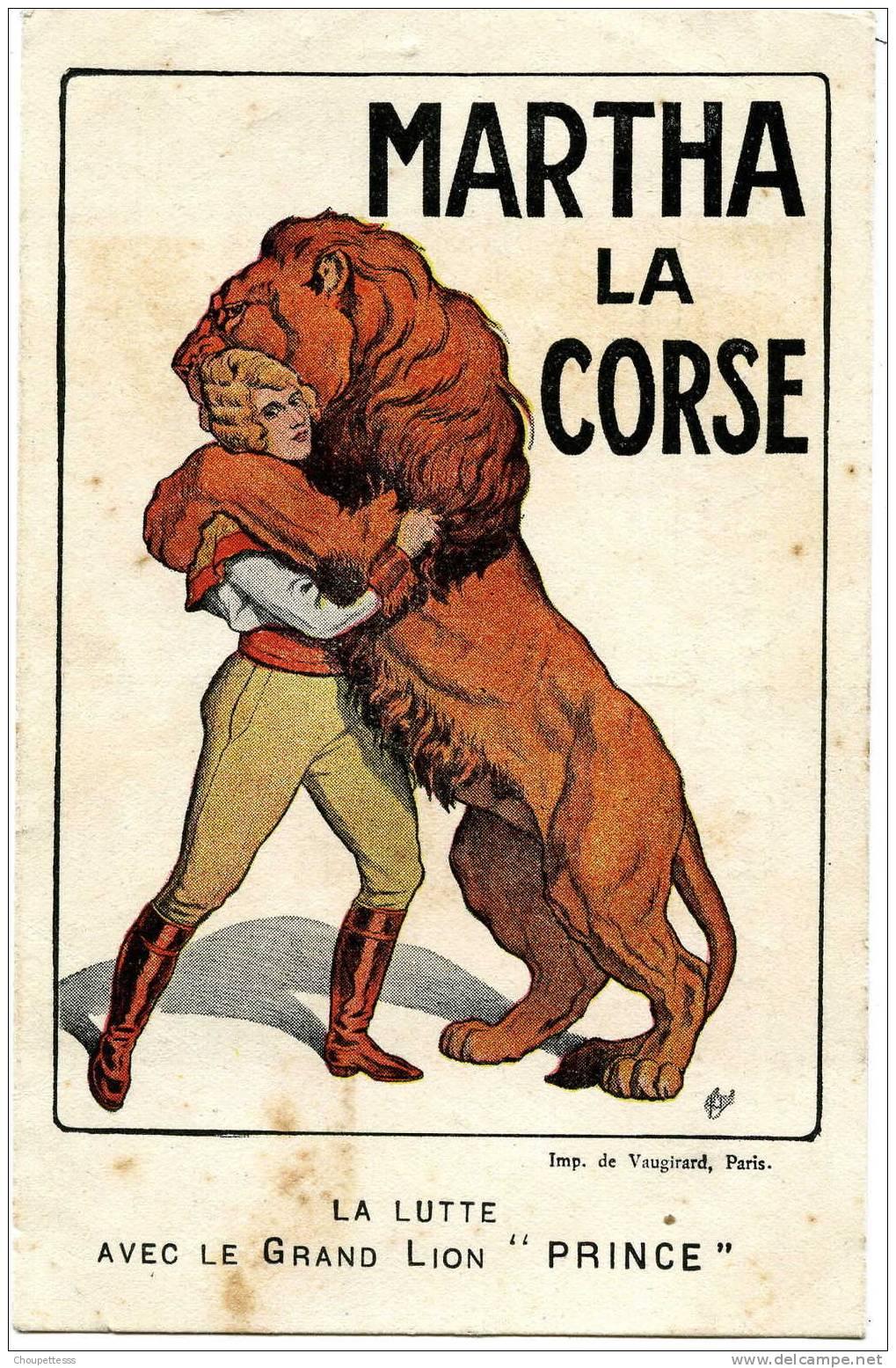 """MARTHA  LA CORSE - La Lutte  Avec Le Grand Lion """" PRINCE """" - Circus"""