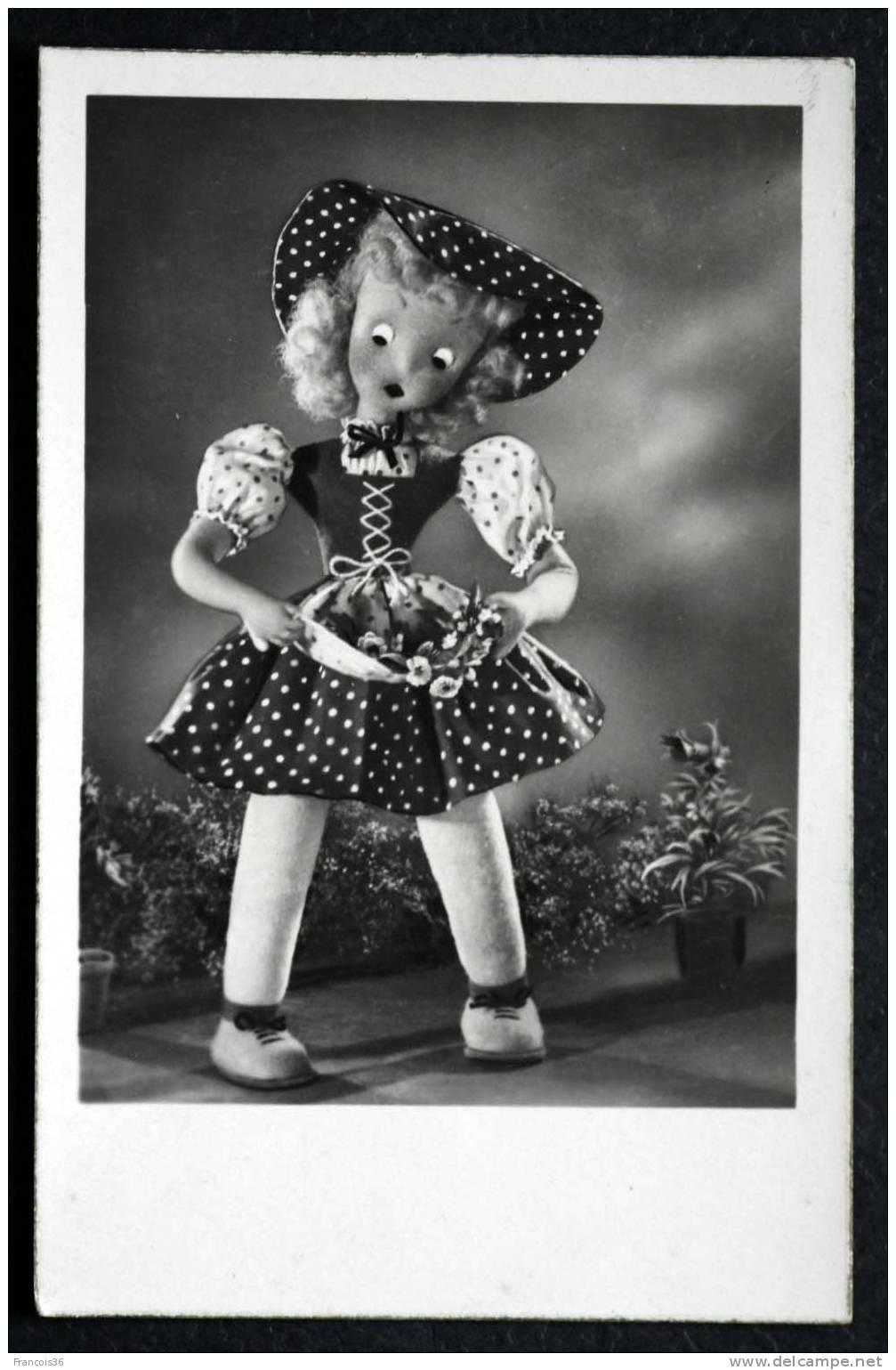 Poupée Doll Muñeca Carte 1948 - Rare Carte Photo - Dos écrit - Jeux Et Jouets