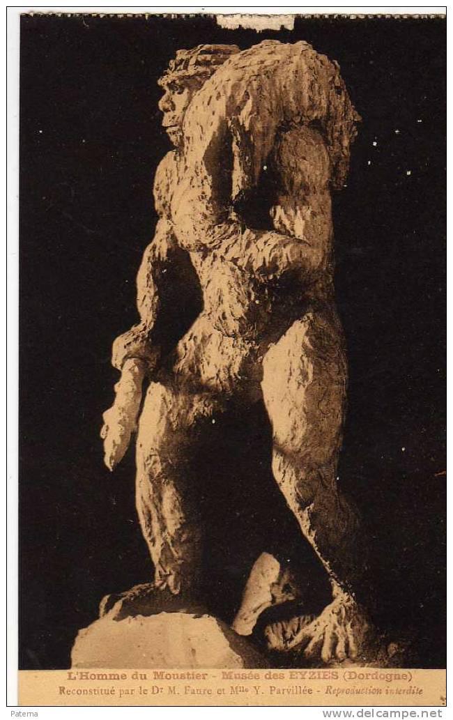 Postal, Hombre Prehistórico, L´HOMME DU MOUSTIER, Post Card, Postkarte - Historia