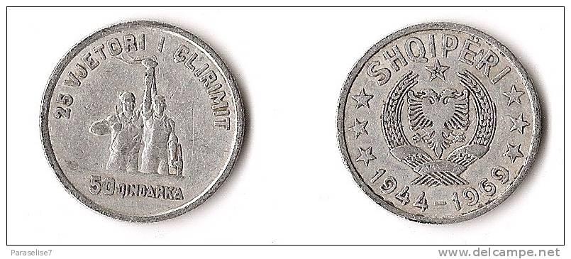 ALBANIE  50  QINDARKA   1969 - Albanie