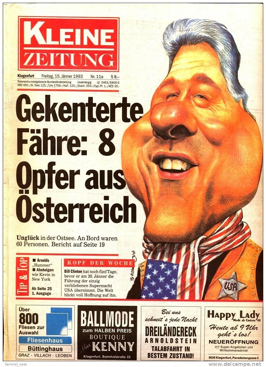 KLEINE  ZEITUNG Kärnten Klagenfurt  15.1. 1993  -  TV, Fussball , Kultur , Politik Und Interessante Berichte - Zeitungen & Zeitschriften