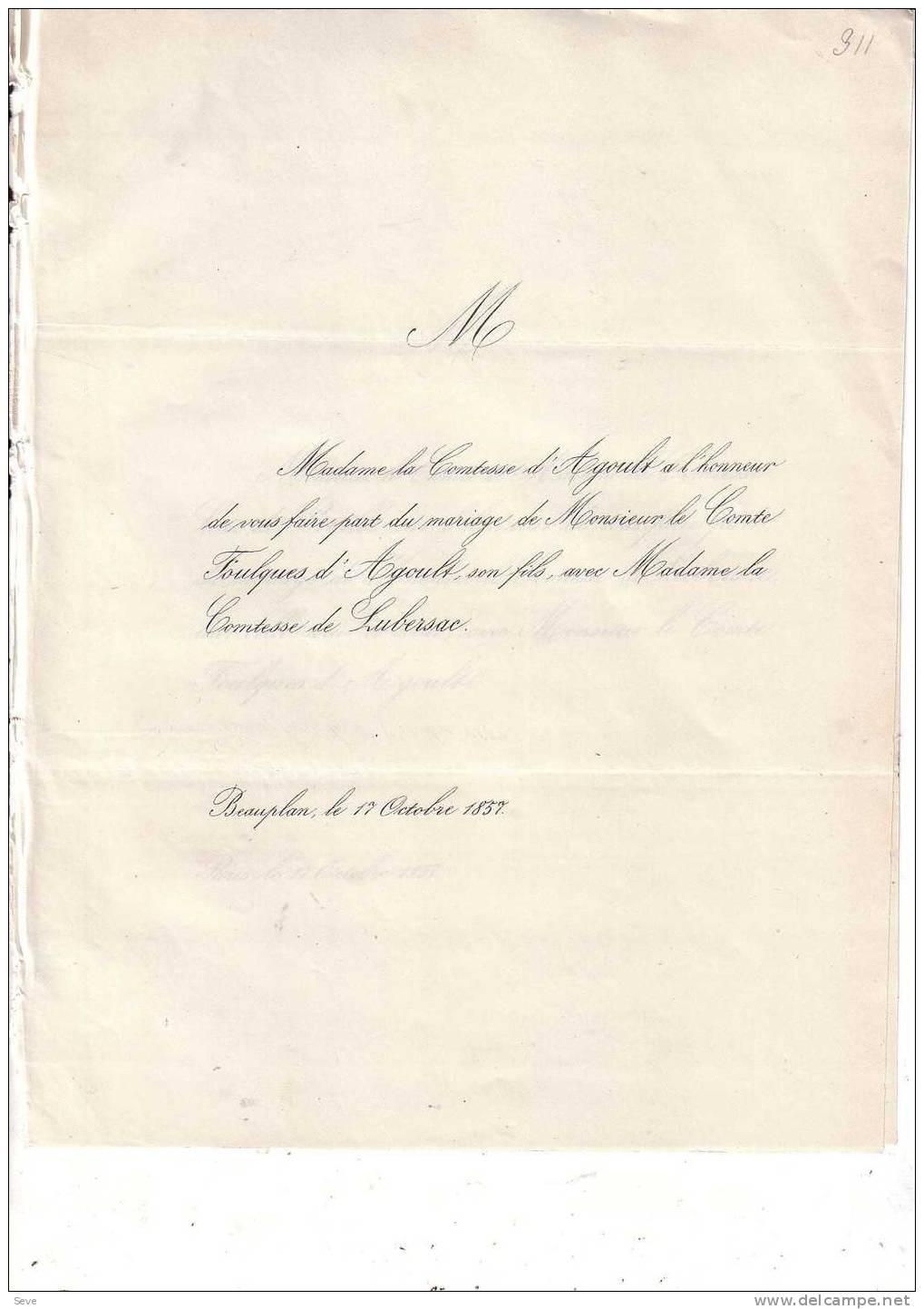 BEAUPLAN Mariage 1857 Comte FOULQUES D'AGOULT Et Comtesse De LUBERSAC Les 2 Faire-parts échangés - Mariage