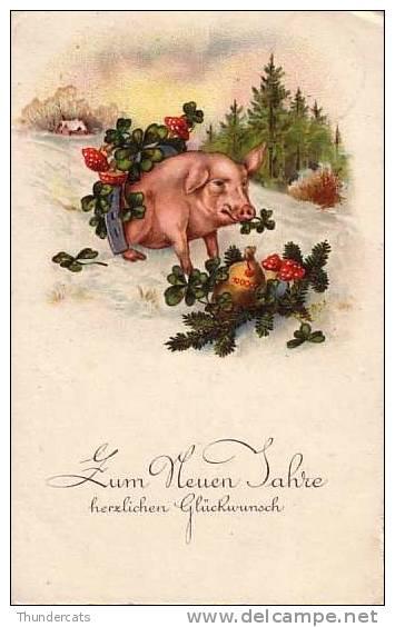 CPA COCHON COCHONS TREFFLE **  SHAMROCK PIG PIGS  ** VARKEN KLAVERTJE VIER - Cochons