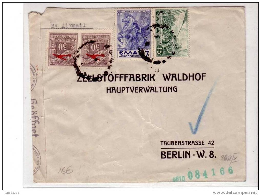GRECE - GUERRE 39/45 - LETTRE PAR AVION CENSUREE D´ATHENES Pour BERLIN (ALLEMAGNE) - Grèce