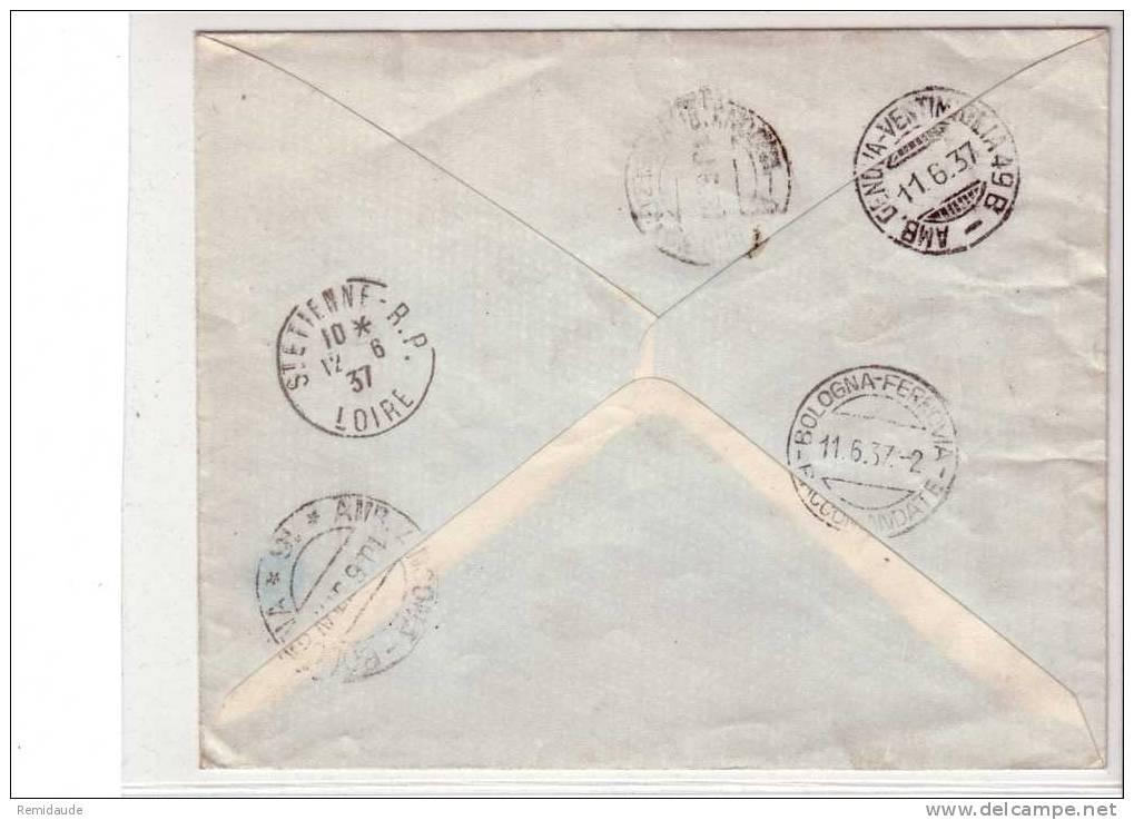 SAINT-MARIN - 1937 - LETTRE RECOMMANDEE  Pour SAINT-ETIENNE (LOIRE) - BEL AFFRANCHISSEMENT - AMBULANT - Saint-Marin