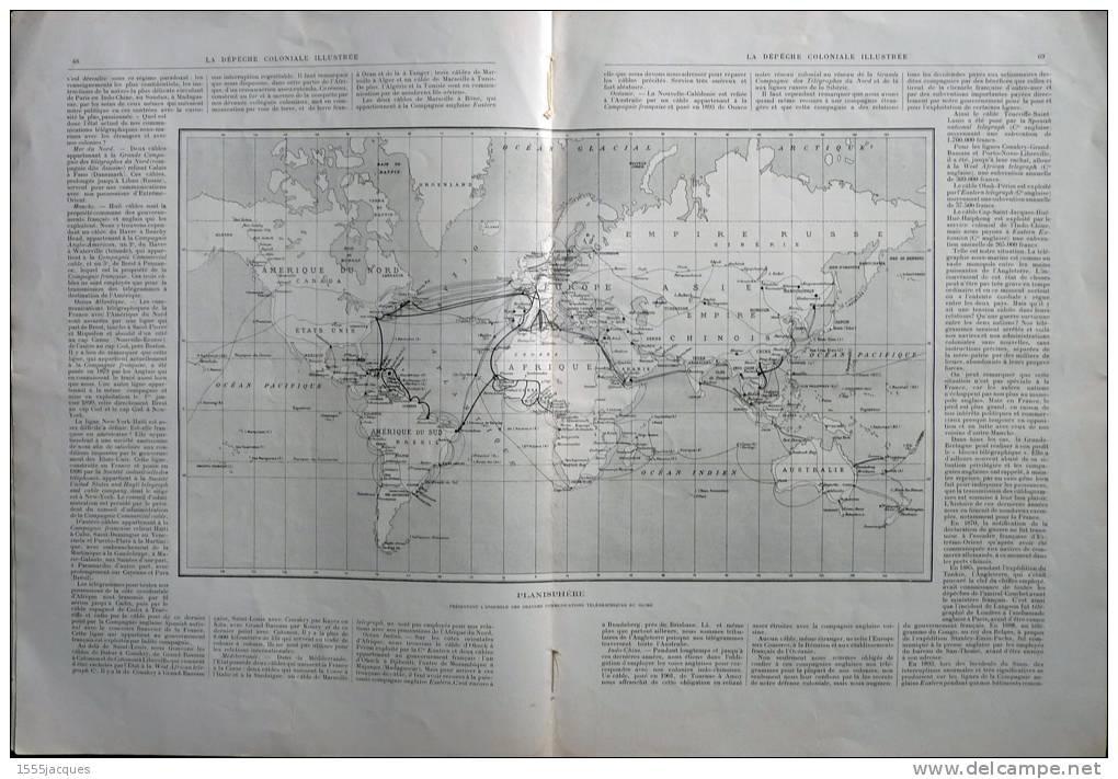 """LA DÉPÊCHE COLONIALE ILLUSTRÉE N°5 15 MARS 1904  : CÂBLES SOUS-MARIS - TÉLÉGRAPHE -LE """"CHARENTE"""" LE """" FRANÇOIS-ARAGO"""" - Giornali"""
