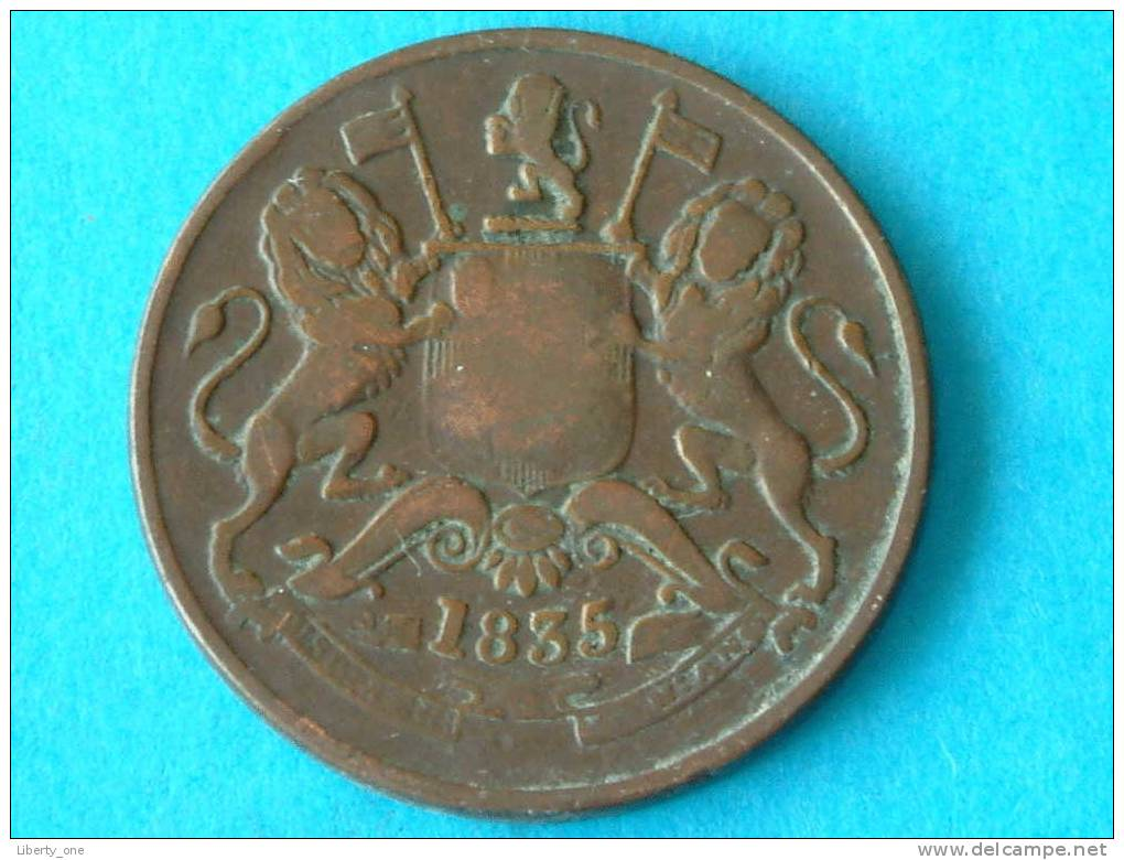1835 - HALF ANNA / KM 447.1 ( For Grade, Please See Photo ) ! - Indien