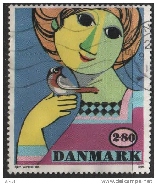 Denmark. Scott # 789 Used Wiinblad Painting, 1986 - Denmark