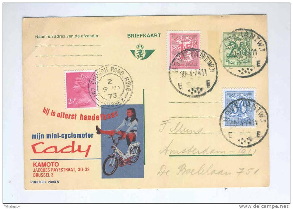 Entier PUBLIBEL + TP Lion Héraldique HOVE Antw. 1974 En MIXTE Avec TP GB HOVE Surrey 1973 - Curiosité --  PP108 - Enteros Postales