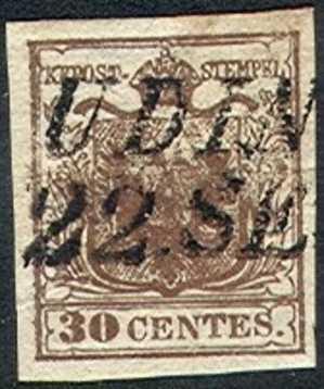 Lombardy-Venetia    5 ,  Used, SCV$ 22.5,  (lv005-4, Michel 4,   Brown - Lombardy-Venetia