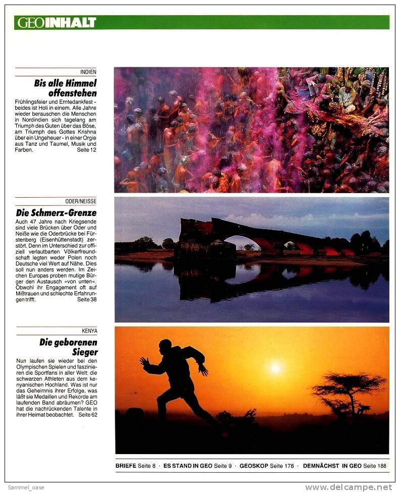 Geo Magazin  -  Nr.8  1992 ,  Holi-Fest : Indiens Himmel Auf Erden  ,  Kenya : Die Geborenen Sieger - Zeitungen & Zeitschriften
