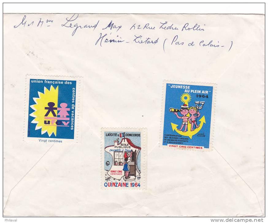 Lettre Oblitérée HENIN LE LIETARD Le 22.6.1964 - France