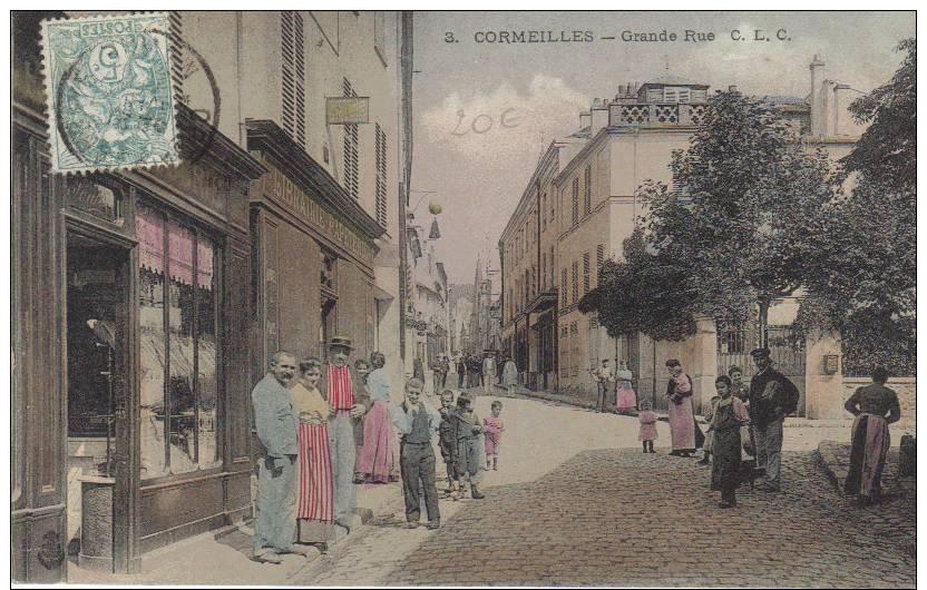 VAL D´OISE. CORMEILLES. GRANDE RUE. BELLE ANIMATION. TOP CARTE. - Cormeilles En Parisis
